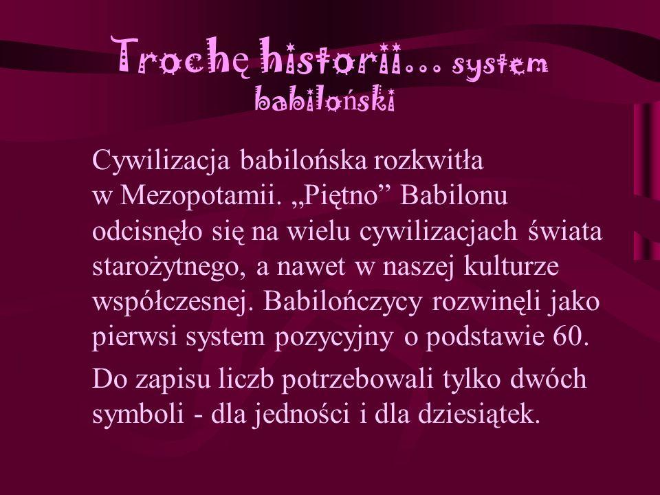 Troch ę historii...system babilo ń ski Cywilizacja babilońska rozkwitła w Mezopotamii.