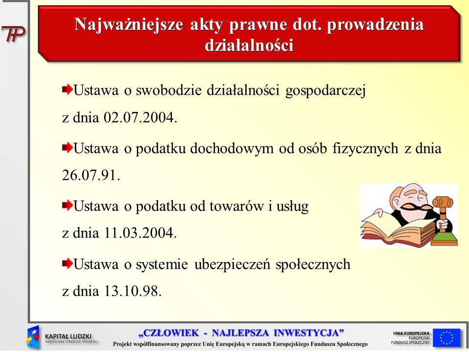 Najważniejsze akty prawne dot. prowadzenia działalności Ustawa o swobodzie działalności gospodarczej z dnia 02.07.2004. Ustawa o podatku dochodowym od