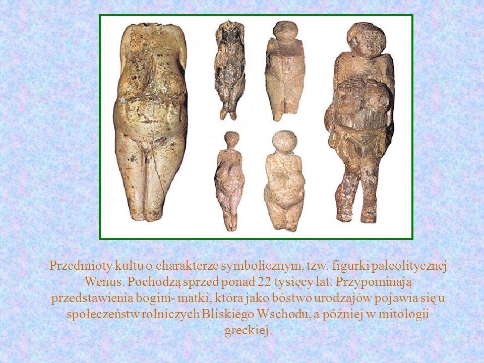 Przedmioty kultu o charakterze symbolicznym, tzw. figurki paleolitycznej Wenus. Pochodzą sprzed ponad 22 tysięcy lat. Przypominają przedstawienia bogi