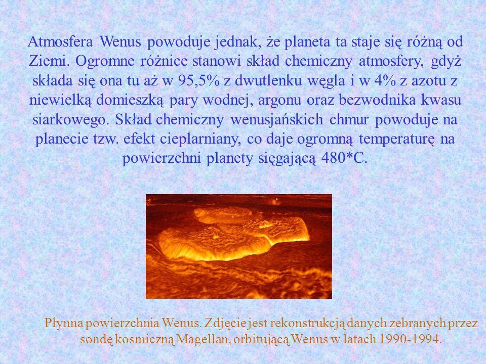 Atmosfera Wenus powoduje jednak, że planeta ta staje się różną od Ziemi. Ogromne różnice stanowi skład chemiczny atmosfery, gdyż składa się ona tu aż