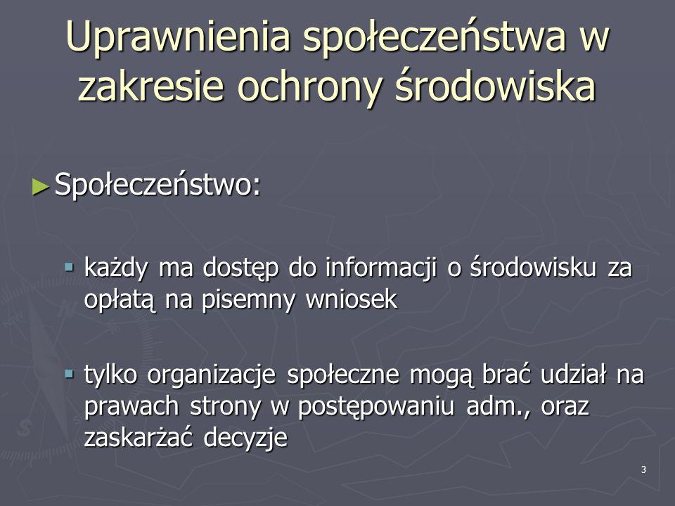 Uprawnienia społeczeństwa w zakresie ochrony środowiska Społeczeństwo: Społeczeństwo: każdy ma dostęp do informacji o środowisku za opłatą na pisemny