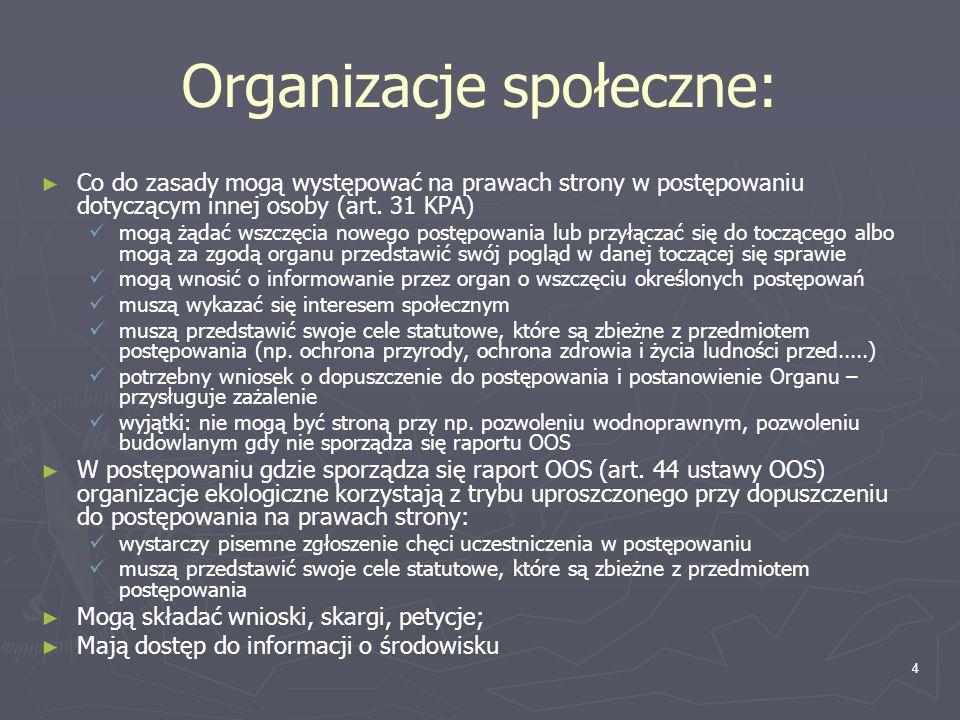 4 Organizacje społeczne: Co do zasady mogą występować na prawach strony w postępowaniu dotyczącym innej osoby (art. 31 KPA) mogą żądać wszczęcia noweg