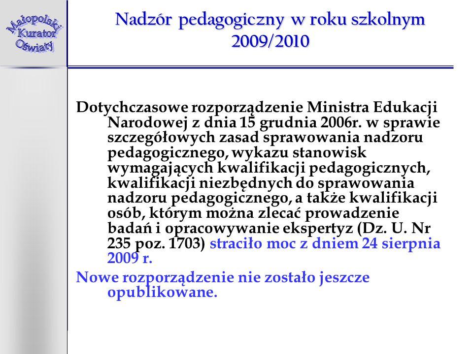 Nadzór pedagogiczny w roku szkolnym 2009/2010 Dotychczasowe rozporządzenie Ministra Edukacji Narodowej z dnia 15 grudnia 2006r. w sprawie szczegółowyc