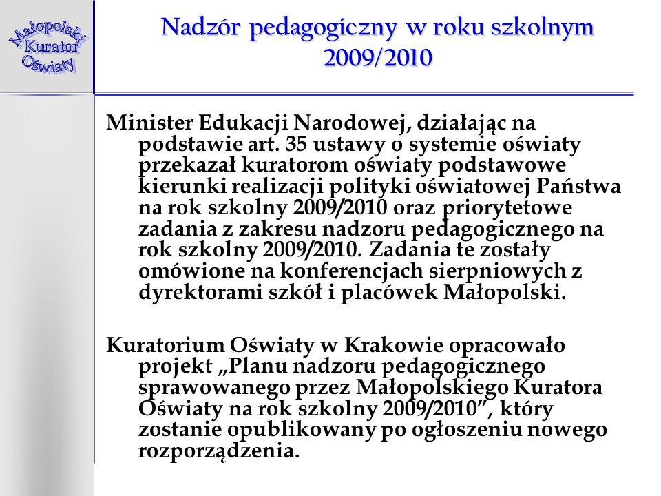 Nadzór pedagogiczny w roku szkolnym 2009/2010 Minister Edukacji Narodowej, działając na podstawie art. 35 ustawy o systemie oświaty przekazał kuratoro