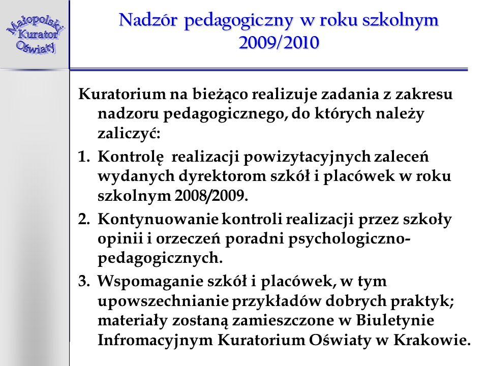 Nadzór pedagogiczny w roku szkolnym 2009/2010 Kuratorium na bieżąco realizuje zadania z zakresu nadzoru pedagogicznego, do których należy zaliczyć: 1.Kontrolę realizacji powizytacyjnych zaleceń wydanych dyrektorom szkół i placówek w roku szkolnym 2008/2009.
