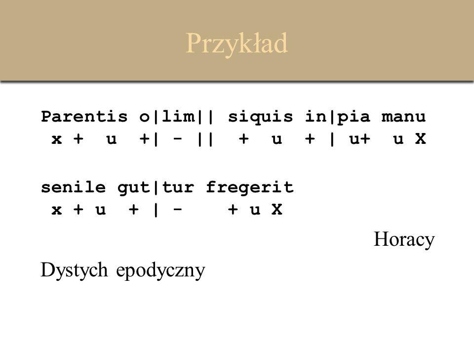 Przykład Parentis o|lim|| siquis in|pia manu x + u +| - || + u + | u+ u X senile gut|tur fregerit x + u + | - + u X Horacy Dystych epodyczny