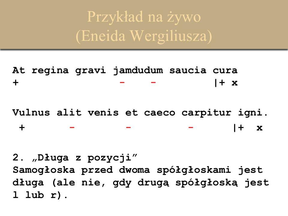 Przykład na żywo (Eneida Wergiliusza) At regina gravi jamdudum saucia cura + - - -  + x Vulnus alit venis et caeco carpitur igni.