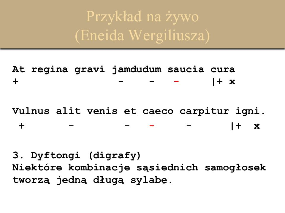 Przykład na żywo (Eneida Wergiliusza) At regina gravi jamdudum saucia cura + - - - |+ x Vulnus alit venis et caeco carpitur igni. + - - - - |+ x 3. Dy