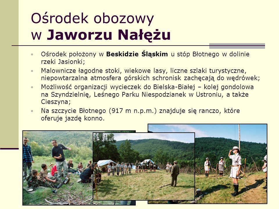 Ośrodek obozowy w Jaworzu Nałężu Ośrodek położony w Beskidzie Śląskim u stóp Błotnego w dolinie rzeki Jasionki; Malownicze łagodne stoki, wiekowe lasy