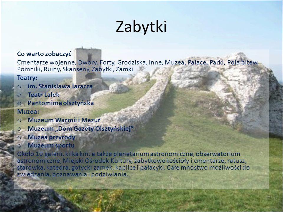 Dodatkowe atrakcje Dodatkowo odbywają się tu liczne imprezy cykliczne - do najważniejszych olsztyńskich imprez i festiwali należą między innymi: Olsztyńskie Lato Artystyczne, Olsztyńskie Noce Bluesowe oraz Ogólnopolskie Spotkania Zamkowe Śpiewajmy Poezję .