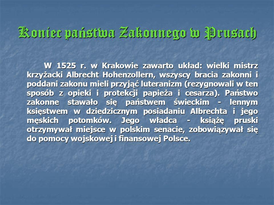 Wojna trzynastoletnia 1454 - 1466 Wielka wojna z Polską w latach 1410 - 1411 zakończyła okres świetności Zakonu. W lutym, roku 1454 wybuchło powstanie
