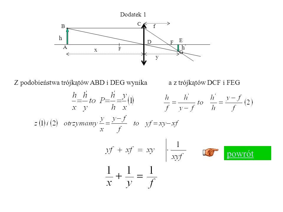 h1h1 h2h2 O1O1 O2O2 P1P1 P2P2 1 r1r1 2 r2r2 x y Korzystając ze wzoru Który był słuszny dla małych kątów ( co w przypadku soczewek będzie możliwe dla promieni przyosiowych lub cienkich soczewek) otrzymamy 1 2