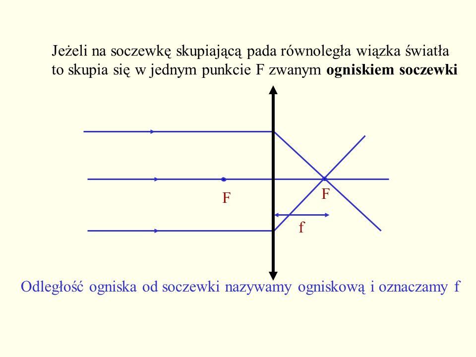 Zależność między ogniskową f, a odległością przedmiotu od soczewki x i odległością obrazu od soczewki y wyraża równanie: Powiększenie P: zdefiniowane jako stosunek wysokości obrazu do wysokości przedmiotu można obliczyć z równania: Tu naciśnij gdy chcesz zapoznać się z wyprowadzeniem tych zależności Zależność między wielkościami charakteryzującymi budowę soczewki, a ogniskową soczewki wyraża równanie: gdzie: n- współczynnik załamania materiału soczewki n - współczynnik załamania otaczającego ośrodka r 1,r 2 –promienie krzywizn ograniczających soczewkę i jest ono słuszne dla promieni padających na cienką soczewkę pod małymi kątami F G A B C D E x y f F h h Zobacz pełne wyprowadzenie