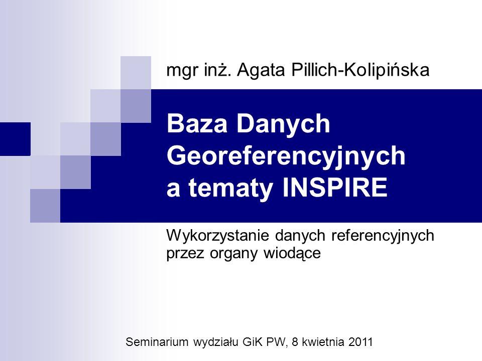 Baza Danych Georeferencyjnych a tematy INSPIRE Wykorzystanie danych referencyjnych przez organy wiodące Seminarium wydziału GiK PW, 8 kwietnia 2011 mg