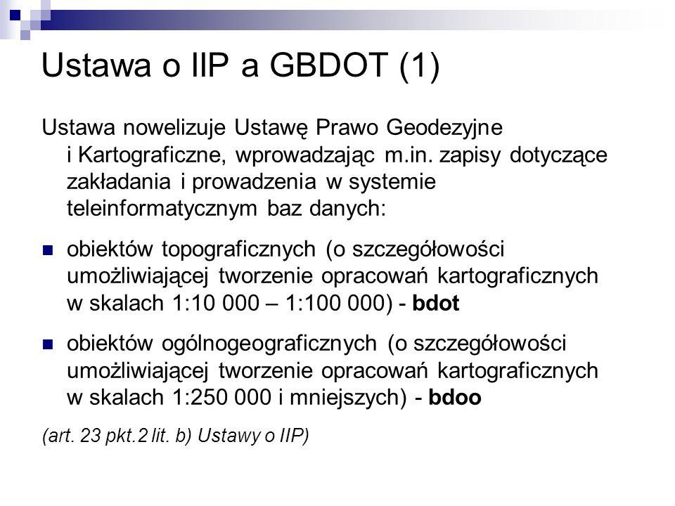 Ustawa o IIP a GBDOT (1) Ustawa nowelizuje Ustawę Prawo Geodezyjne i Kartograficzne, wprowadzając m.in. zapisy dotyczące zakładania i prowadzenia w sy