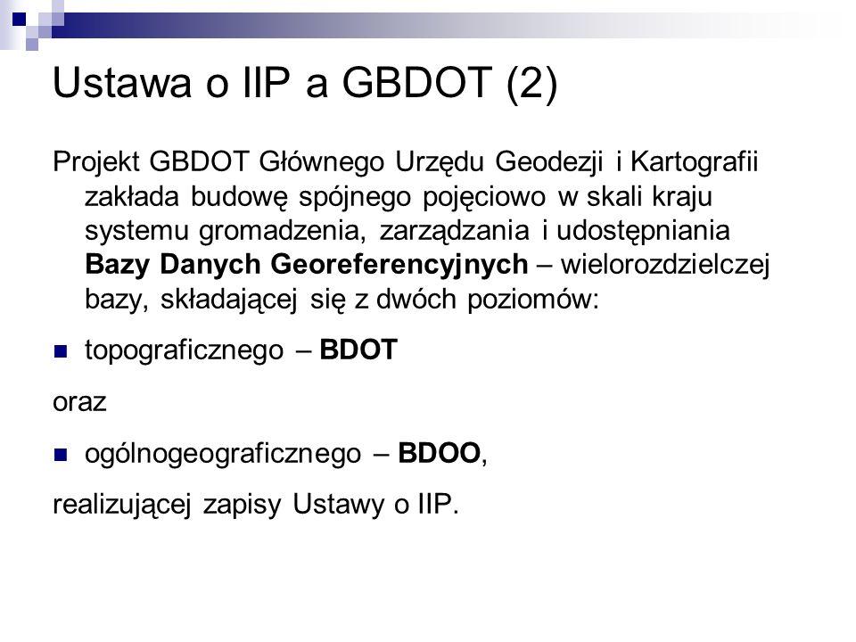 Ustawa o IIP a GBDOT (2) Projekt GBDOT Głównego Urzędu Geodezji i Kartografii zakłada budowę spójnego pojęciowo w skali kraju systemu gromadzenia, zar