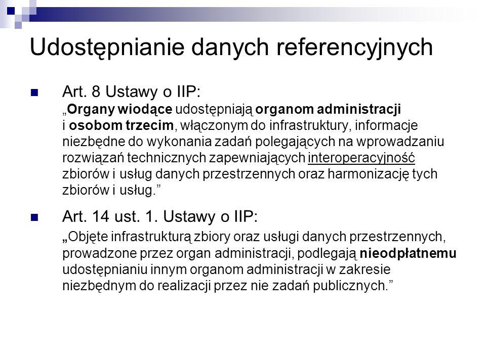 Udostępnianie danych referencyjnych Art. 8 Ustawy o IIP:Organy wiodące udostępniają organom administracji i osobom trzecim, włączonym do infrastruktur