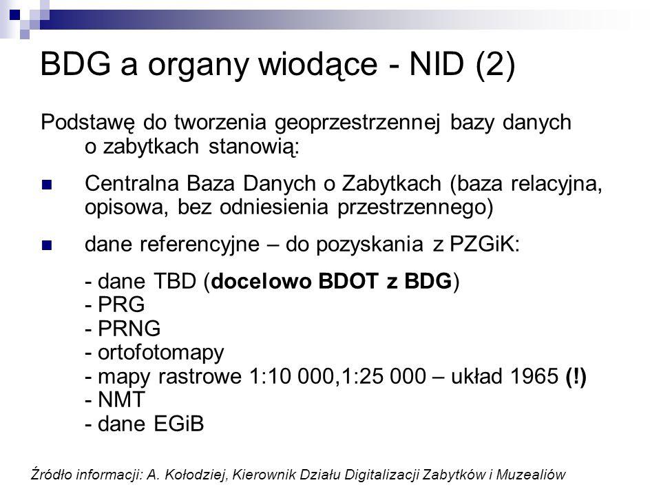 BDG a organy wiodące - NID (2) Podstawę do tworzenia geoprzestrzennej bazy danych o zabytkach stanowią: Centralna Baza Danych o Zabytkach (baza relacy
