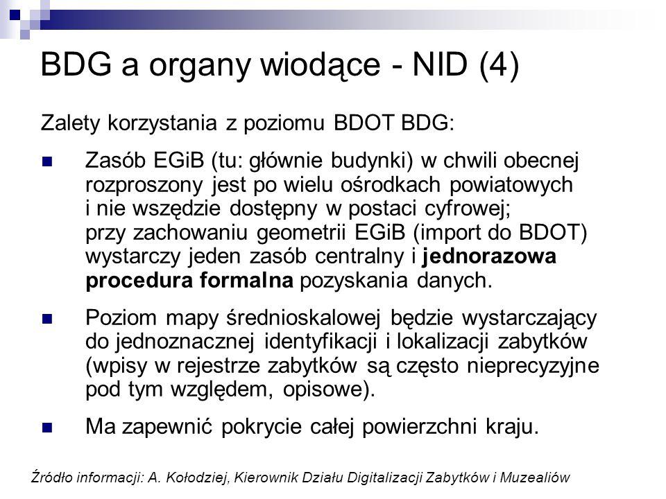 BDG a organy wiodące - NID (4) Zalety korzystania z poziomu BDOT BDG: Zasób EGiB (tu: głównie budynki) w chwili obecnej rozproszony jest po wielu ośro