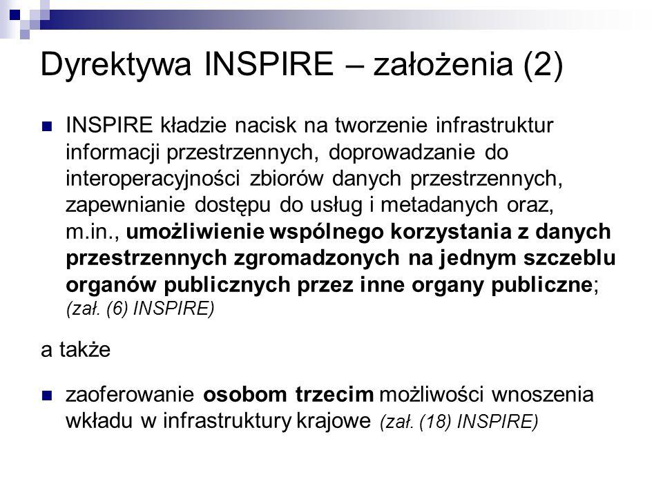 Dyrektywa INSPIRE – założenia (2) INSPIRE kładzie nacisk na tworzenie infrastruktur informacji przestrzennych, doprowadzanie do interoperacyjności zbi
