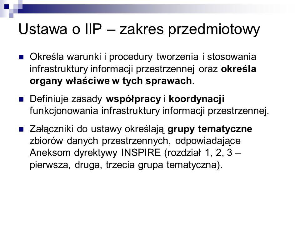 Ustawa o IIP – zakres przedmiotowy Określa warunki i procedury tworzenia i stosowania infrastruktury informacji przestrzennej oraz określa organy właś
