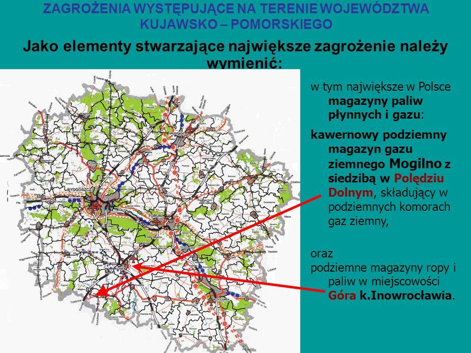 Jako elementy stwarzające największe zagrożenie należy wymienić: w tym największe w Polsce magazyny paliw płynnych i gazu: ZAGROŻENIA WYSTĘPUJĄCE NA T