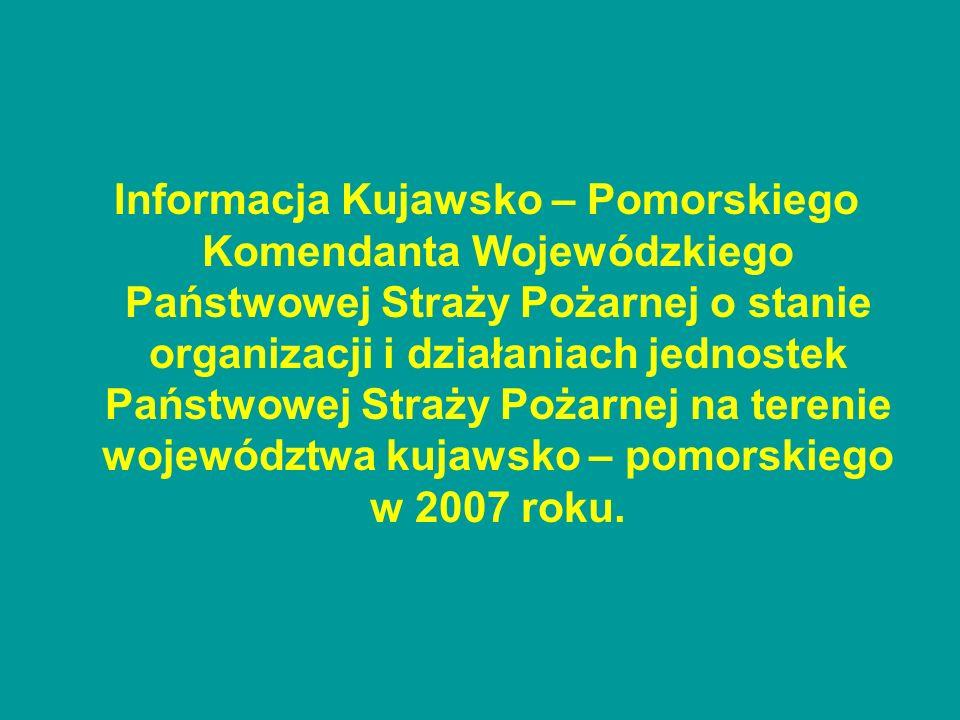 Do głównych zagrożeń występujących na terenie województwa kujawsko – pomorskiego zaliczyć należy zagrożenia: pożarowe, chemiczno – ekologiczne, budowlane, komunikacyjne, wodne i powodziowe.