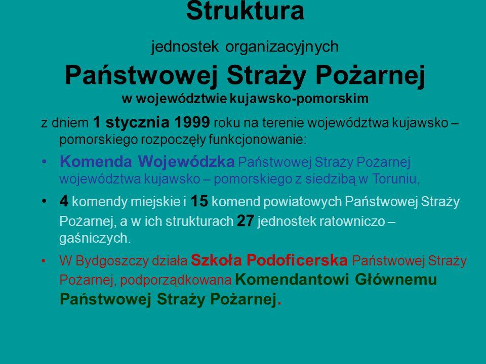 Struktura jednostek organizacyjnych Państwowej Straży Pożarnej w województwie kujawsko-pomorskim z dniem 1 stycznia 1999 roku na terenie województwa k