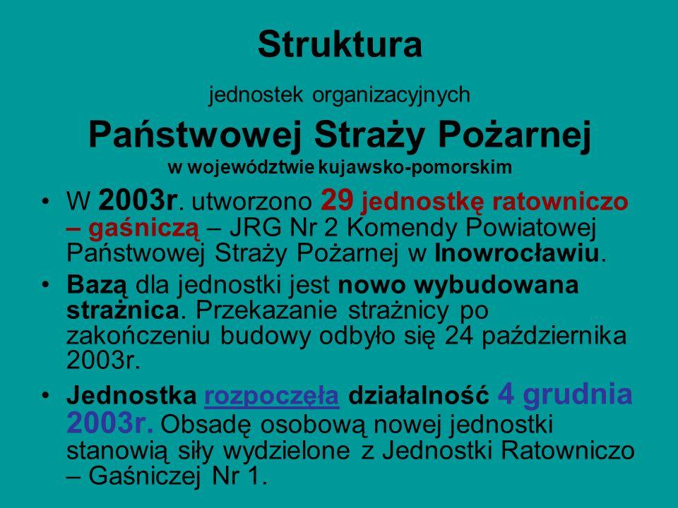 Struktura jednostek organizacyjnych Państwowej Straży Pożarnej w województwie kujawsko-pomorskim W 2003r. utworzono 29 jednostkę ratowniczo – gaśniczą