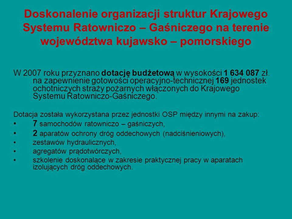 Doskonalenie organizacji struktur Krajowego Systemu Ratowniczo – Gaśniczego na terenie województwa kujawsko – pomorskiego W 2007 roku przyznano dotacj