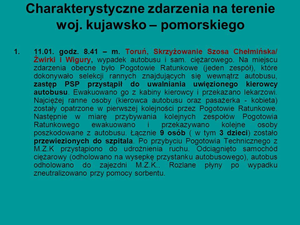 1.11.01. godz. 8.41 – m. Toruń, Skrzyżowanie Szosa Chełmińska/ Żwirki i Wigury, wypadek autobusu i sam. ciężarowego. Na miejscu zdarzenia obecne było