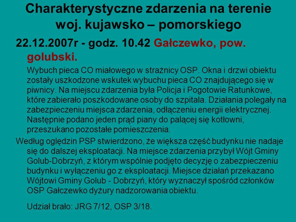 Charakterystyczne zdarzenia na terenie woj. kujawsko – pomorskiego 22.12.2007r - godz. 10.42 Gałczewko, pow. golubski. Wybuch pieca CO miałowego w str