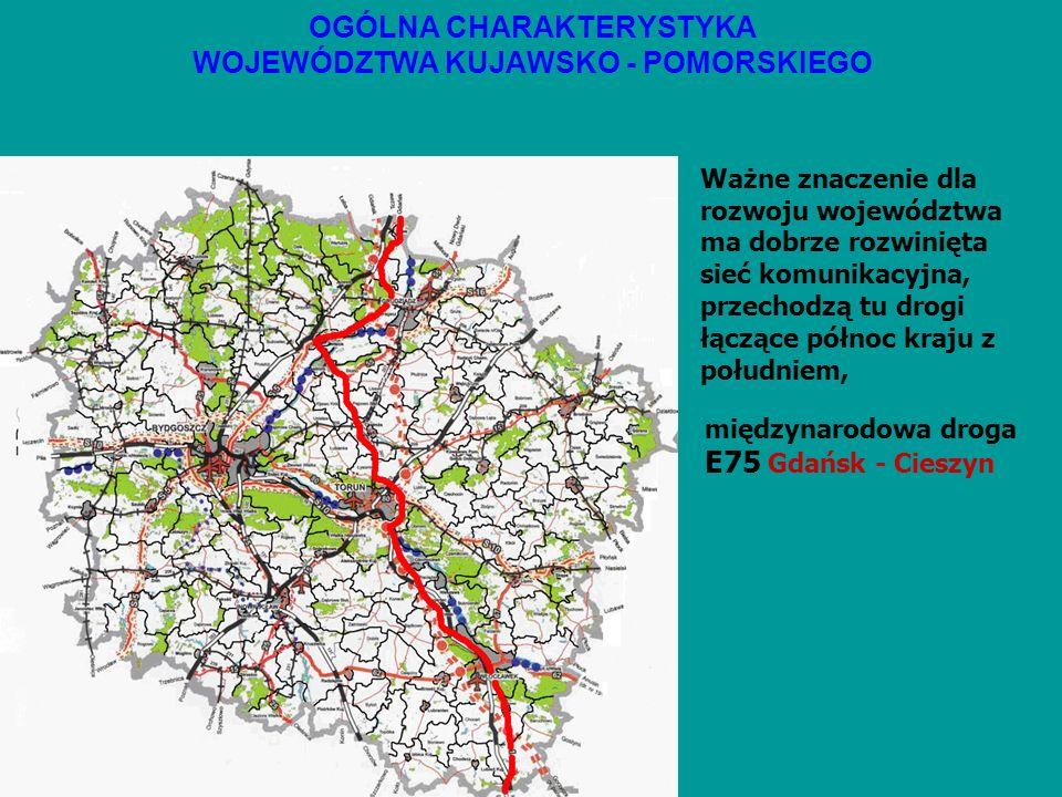 OGÓLNA CHARAKTERYSTYKA WOJEWÓDZTWA KUJAWSKO - POMORSKIEGO Ważne znaczenie dla rozwoju województwa ma dobrze rozwinięta sieć komunikacyjna, przechodzą tu drogi łączące północ kraju z południem, międzynarodowa droga E75 Gdańsk – Cieszyn i E261 Świecie-Wrocław
