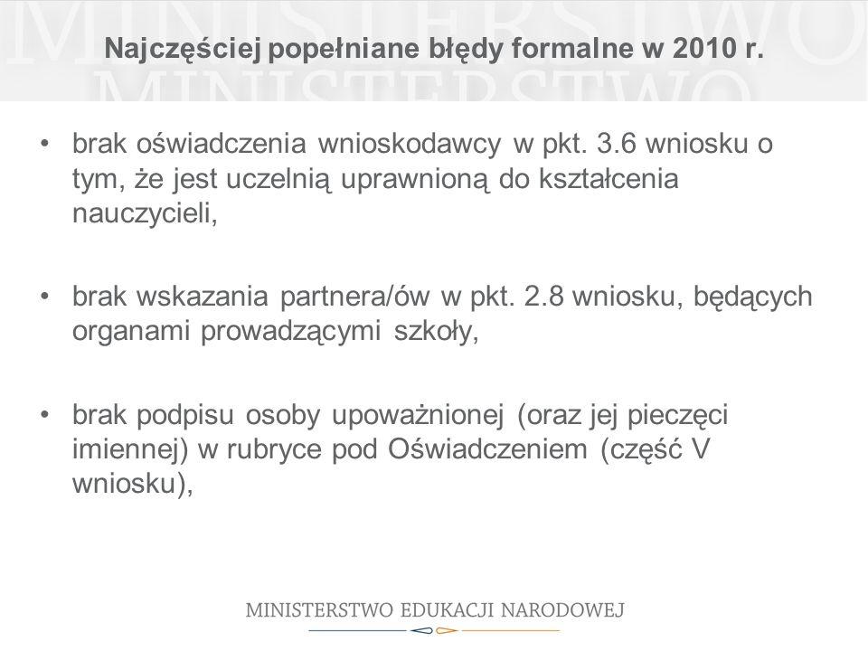 Najczęściej popełniane błędy formalne w 2010 r. brak oświadczenia wnioskodawcy w pkt.
