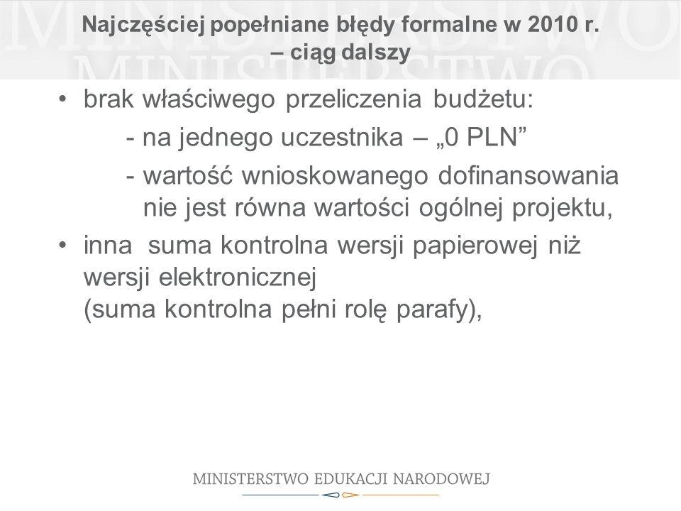 Najczęściej popełniane błędy formalne w 2010 r.