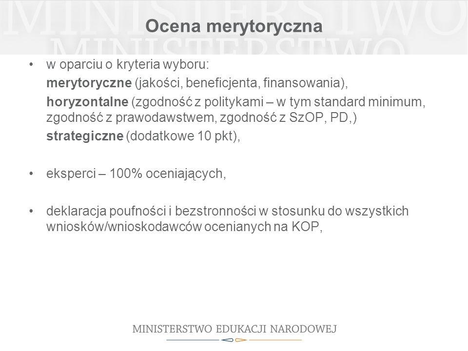 Ocena merytoryczna w oparciu o kryteria wyboru: merytoryczne (jakości, beneficjenta, finansowania), horyzontalne (zgodność z politykami – w tym standard minimum, zgodność z prawodawstwem, zgodność z SzOP, PD,) strategiczne (dodatkowe 10 pkt), eksperci – 100% oceniających, deklaracja poufności i bezstronności w stosunku do wszystkich wniosków/wnioskodawców ocenianych na KOP,