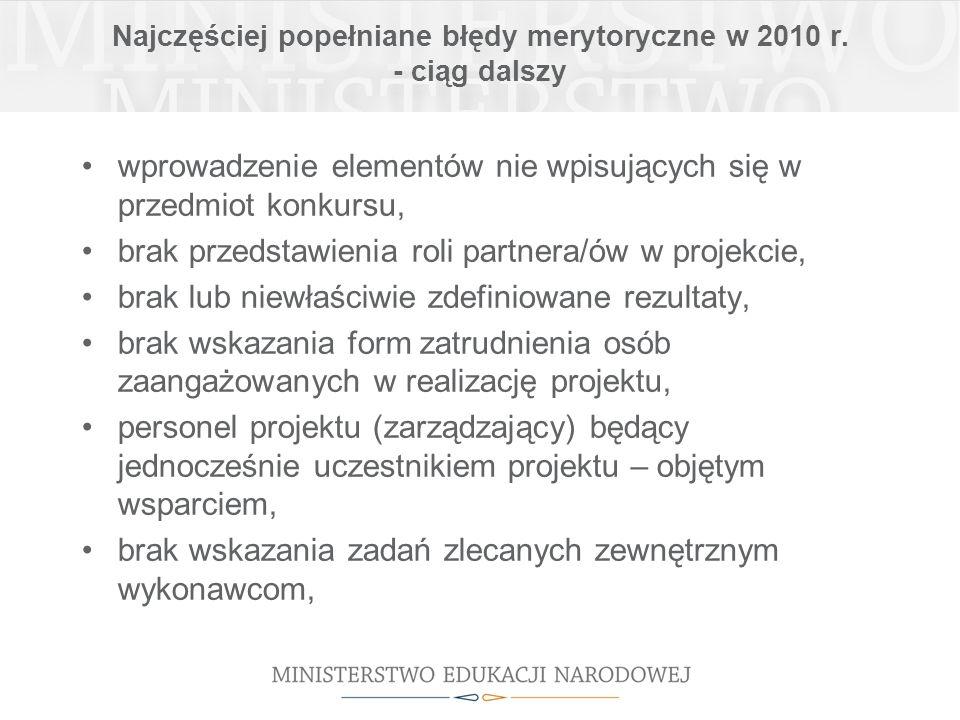 Najczęściej popełniane błędy merytoryczne w 2010 r.