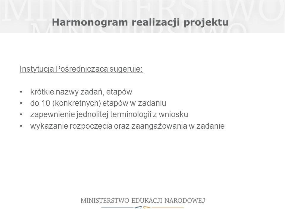 Harmonogram realizacji projektu Instytucja Pośrednicząca sugeruje: krótkie nazwy zadań, etapów do 10 (konkretnych) etapów w zadaniu zapewnienie jednolitej terminologii z wniosku wykazanie rozpoczęcia oraz zaangażowania w zadanie