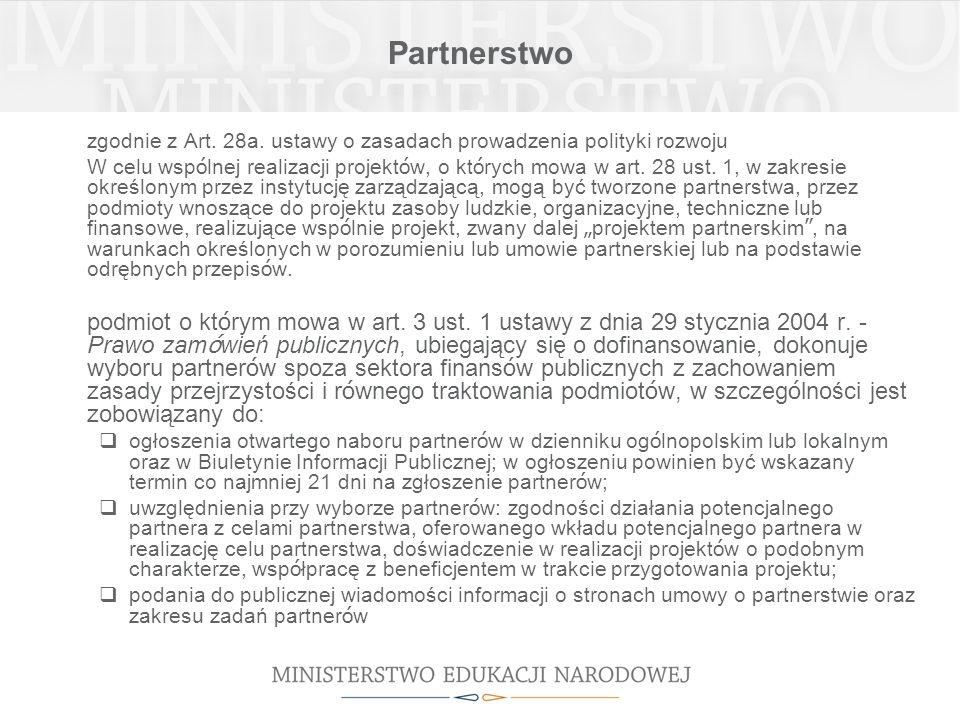 Partnerstwo zgodnie z Art. 28a.