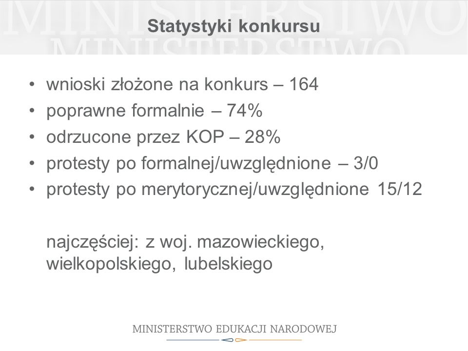Statystyki konkursu wnioski złożone na konkurs – 164 poprawne formalnie – 74% odrzucone przez KOP – 28% protesty po formalnej/uwzględnione – 3/0 protesty po merytorycznej/uwzględnione 15/12 najczęściej: z woj.