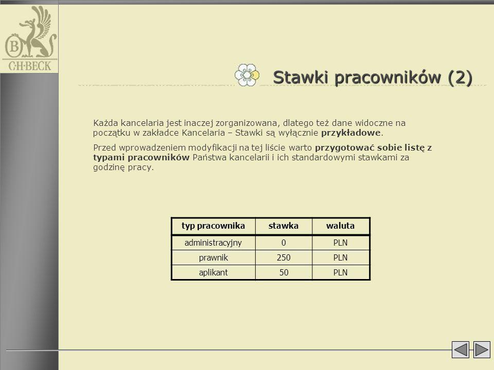 Stawki pracowników (2) Każda kancelaria jest inaczej zorganizowana, dlatego też dane widoczne na początku w zakładce Kancelaria – Stawki są wyłącznie