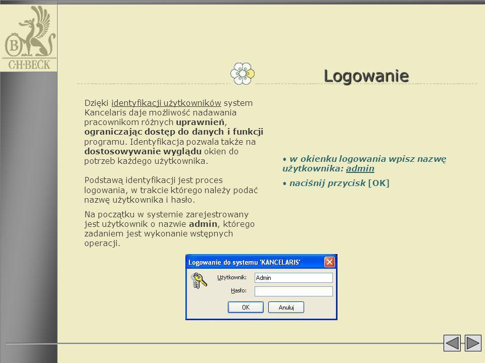 Kancelaria Po zalogowaniu otwiera się główne okno aplikacji, w którym widoczne są przyciski do poszczególnych modułów programu.