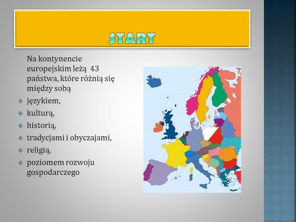 Na kontynencie europejskim leżą 43 państwa, które różnią się między sobą językiem, kulturą, historią, tradycjami i obyczajami, religią, poziomem rozwo