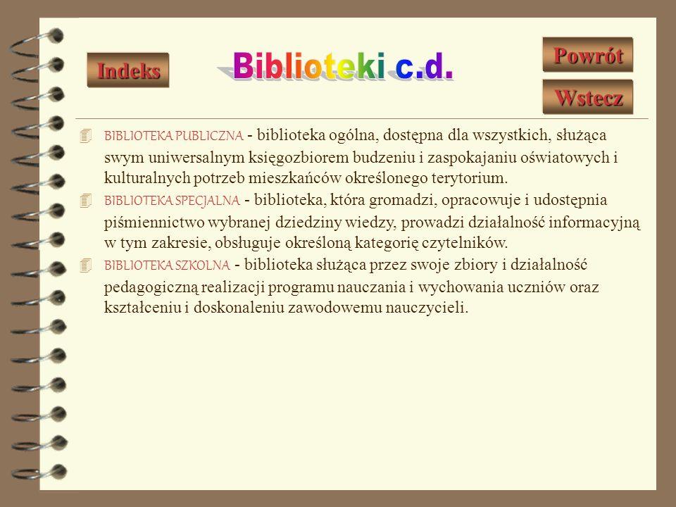 BIBLIOTEKA FACHOWA - biblioteka specjalna zakładu pracy zobowiązana do udziału w realizacji jego zadań oraz doskonaleniu zawodowym pracowników. BIBLIO