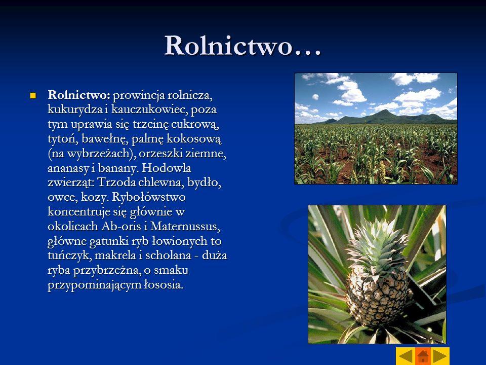 Rolnictwo… Rolnictwo: prowincja rolnicza, kukurydza i kauczukowiec, poza tym uprawia się trzcinę cukrową, tytoń, bawełnę, palmę kokosową (na wybrzeżach), orzeszki ziemne, ananasy i banany.