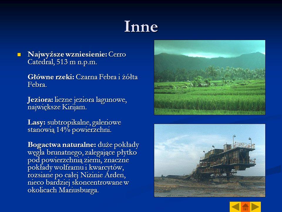 Inne Najwyższe wzniesienie: Cerro Catedral, 513 m n.p.m. Główne rzeki: Czarna Febra i żółta Febra. Jeziora: liczne jeziora lagunowe, największe Kirija