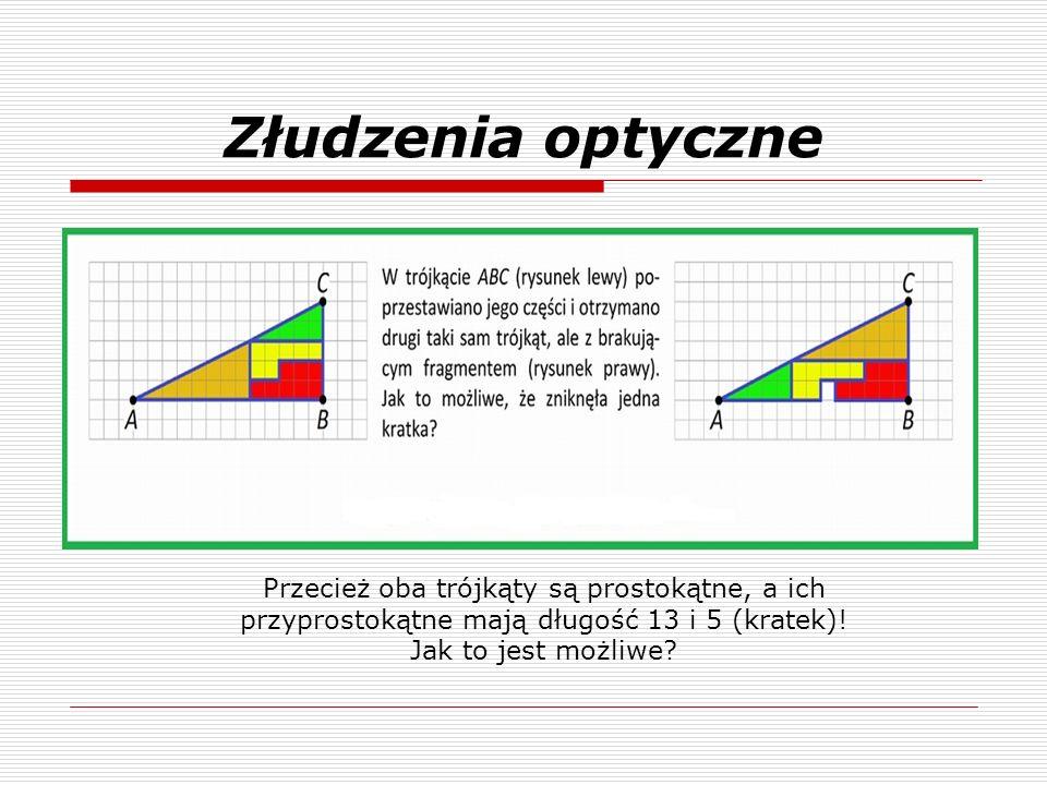 Złudzenia optyczne Przecież oba trójkąty są prostokątne, a ich przyprostokątne mają długość 13 i 5 (kratek)! Jak to jest możliwe?