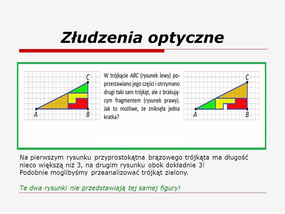 Złudzenia optyczne Na pierwszym rysunku przyprostokątna brązowego trójkąta ma długość nieco większą niż 3, na drugim rysunku obok dokładnie 3! Podobni