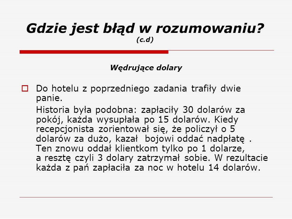 Gdzie jest błąd w rozumowaniu? (c.d) Do hotelu z poprzedniego zadania trafiły dwie panie. Historia była podobna: zapłaciły 30 dolarów za pokój, każda