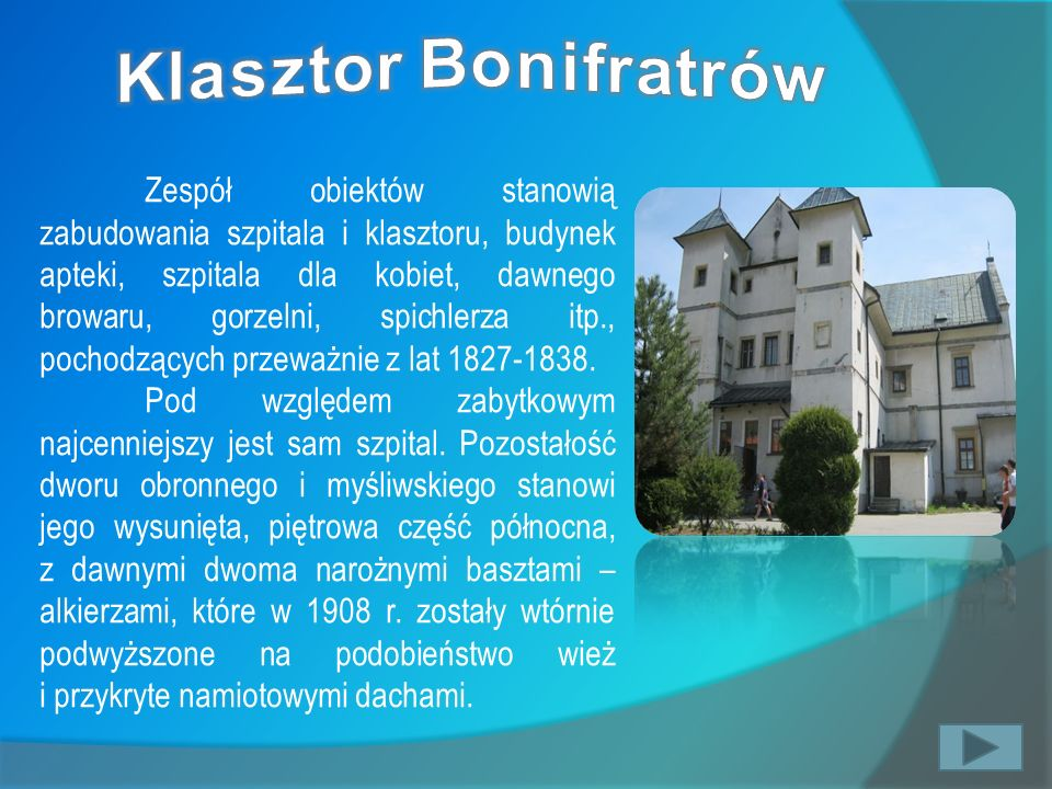 Zespół obiektów stanowią zabudowania szpitala i klasztoru, budynek apteki, szpitala dla kobiet, dawnego browaru, gorzelni, spichlerza itp., pochodzący